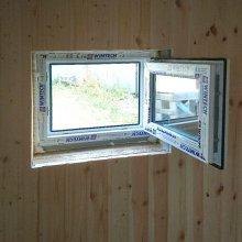 Установка окна и дверей в доме (баня)